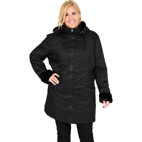 Excelled Women's Plus Polyester Hooded Car Coat