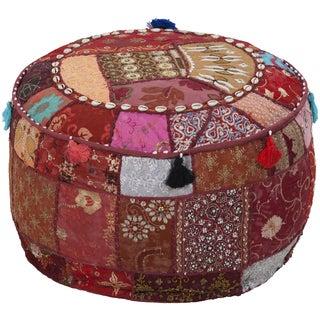 Geometric Bern Round Cotton 22-inch Pouf