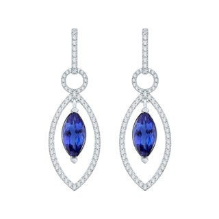18k White Gold 1 1/3ct TDW Tanzanite and Diamond Earrings (G-H, SI)