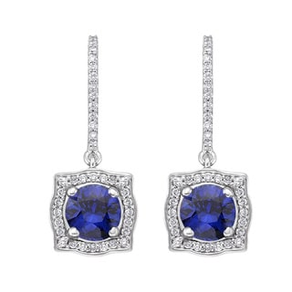 18k White Gold 1/3ct TDW Sapphire and Diamond Earrings (G-H, SI)