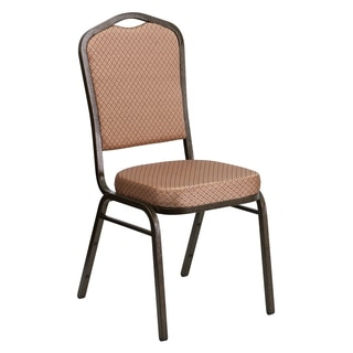 Heliconia Gold Diamond Upholstered Stack Dining Chairs