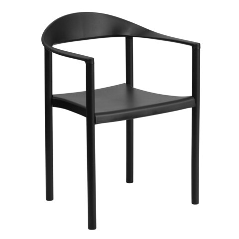 Monarda Modern Black Stack Dining Arm Chairs