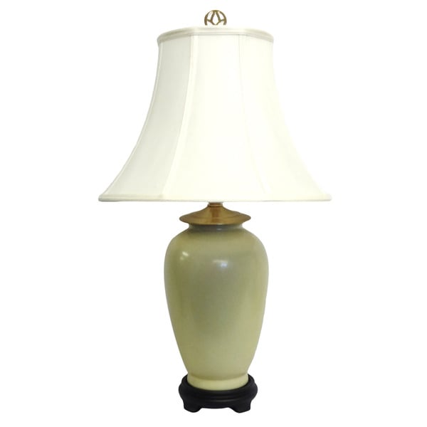 Solid Light Yellow Porcelain Table Lamp
