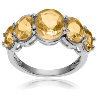 Journee Collection Sterling Silver Oval Citrine 5-stone Ring