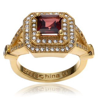 Journee Collection 14k Goldplated Metal Garnet CZ Accent Square Ring