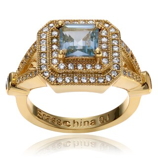 Journee Collection Goldplated Metal Blue Topaz Cz Accent Square Ring