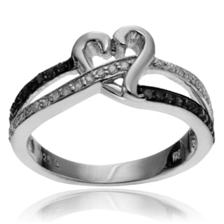 Journee Collection Sterling Silver Blue and White Diamond Heart Ring