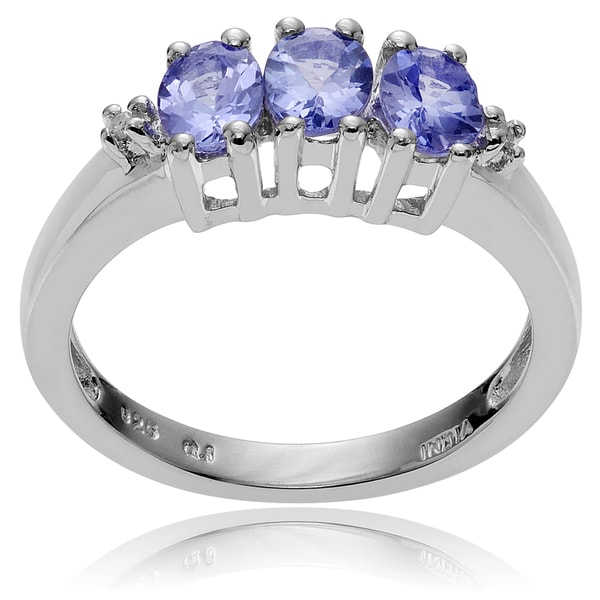 Journee Collection Sterling Silver Tanzanite and Diamond Ring