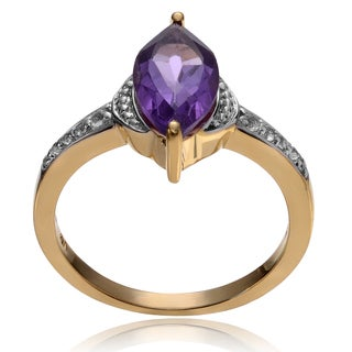 Journee Collection 14k Goldplated Sterling Silver Amethyst Topaz Accent Ring