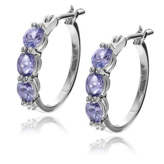 Journee Collection Sterling Silver Tanzanite Diamond Accent Hoop Earrings
