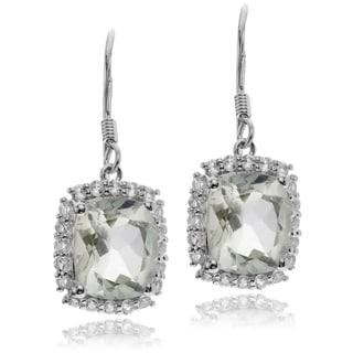Journee Collection Sterling Silver Green Amethyst Topaz Dangle Earrings