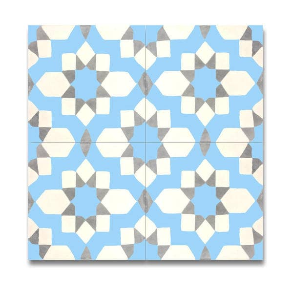 Affos Blue and Grey Handmade Moroccan 8 x 8 inch Cement and Granite Floor or Wall Tile (Case of 12)