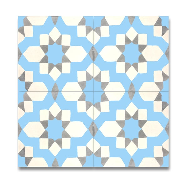 Pack of 12 affos blue and grey handmade cement and granite for Handmade cement tiles