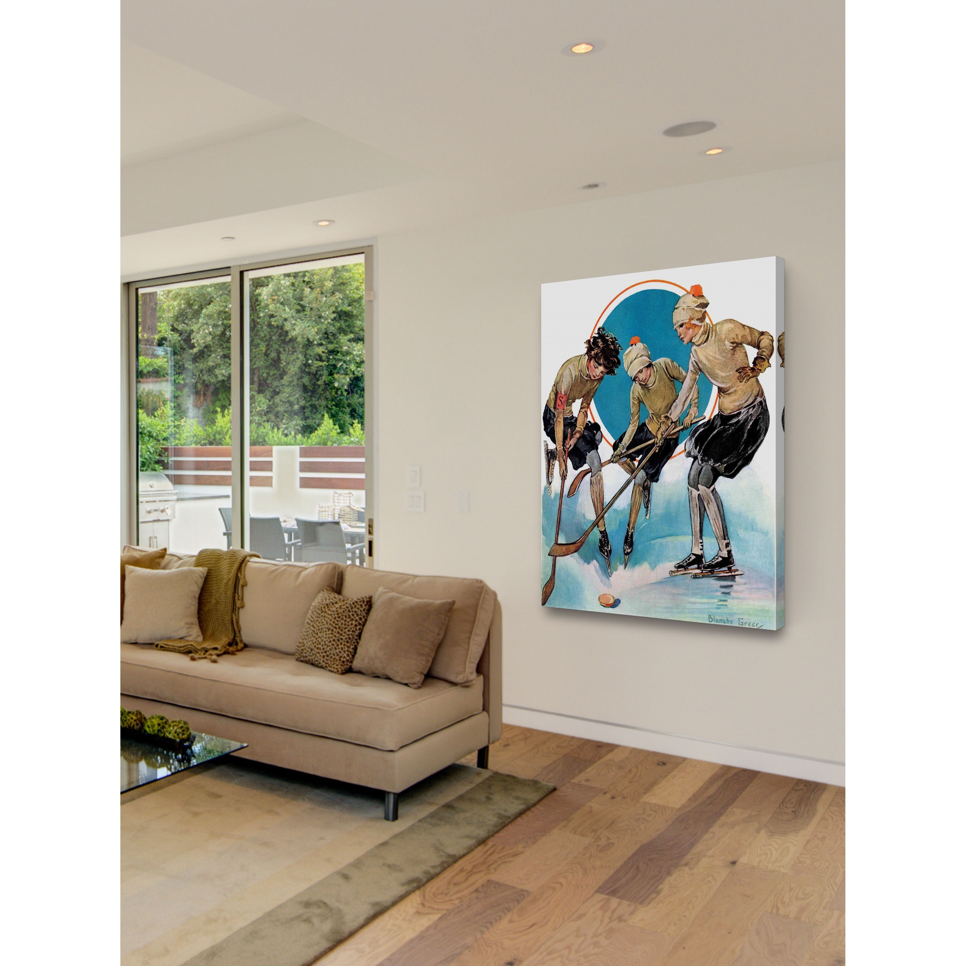 Marmont Hill Handmade Girls Playing Ice Hockey Painting Print On Canvas Overstock 10405186