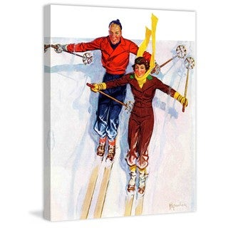 """Marmont Hill - """"Couple Downhill Skiing"""" by R.J. Cavaliere Painting Print on Canvas"""