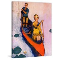 "Marmont Hill - ""Couple Paddling Canoe"" by McClelland Barclay Painting Print on Canvas - Multi-color"