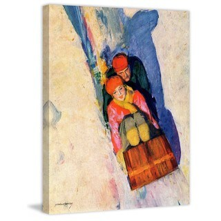 """Marmont Hill - """"Couple on Toboggan"""" by McClelland Barclay Painting Print on Canvas - multi"""