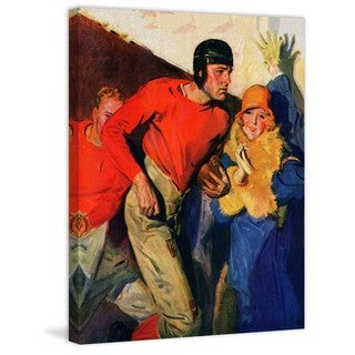 "Marmont Hill - ""Football Player and Fan"" by McClelland Barclay Painting Print on Canvas"