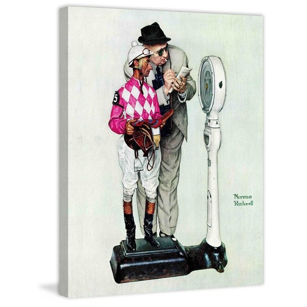 "Marmont Hill - ""Jockey Weighing In"" by Norman Rockwell Painting Print on Canvas - Multi-color"