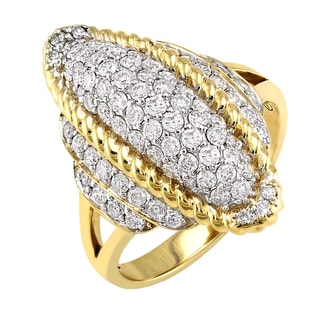 Beverly Hills Charm 14K Gold 1ct TDW Elongated Dome Diamond Ring (H-I, I1-I2)