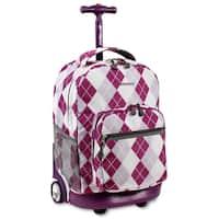 J World Argyle Purple Sunrise 18-inch Rolling Backpack