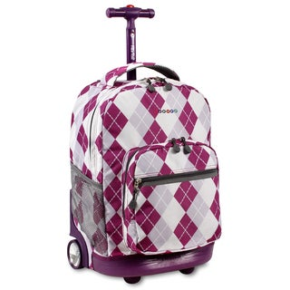 J World Argyle Purple Sunrise 18-inch Rolling Backpack