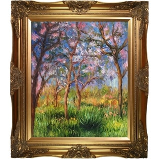 Claude Monet 'Giverny in Springtime' Hand Painted Framed Canvas Art