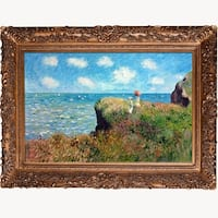 Claude Monet 'Cliff Walk at Pourville' Hand Painted Framed Canvas Art