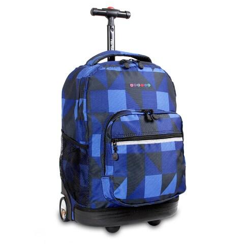 J World Block Navy Sunrise 18-inch Rolling Backpack