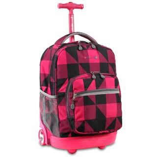 J World Block Pink Sunrise 18-inch Rolling Backpack
