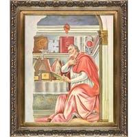 Botticelli 'St Augustine' Hand Painted Framed Canvas Art