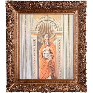 Botticelli 'Sixtus II' Hand Painted Framed Canvas Art