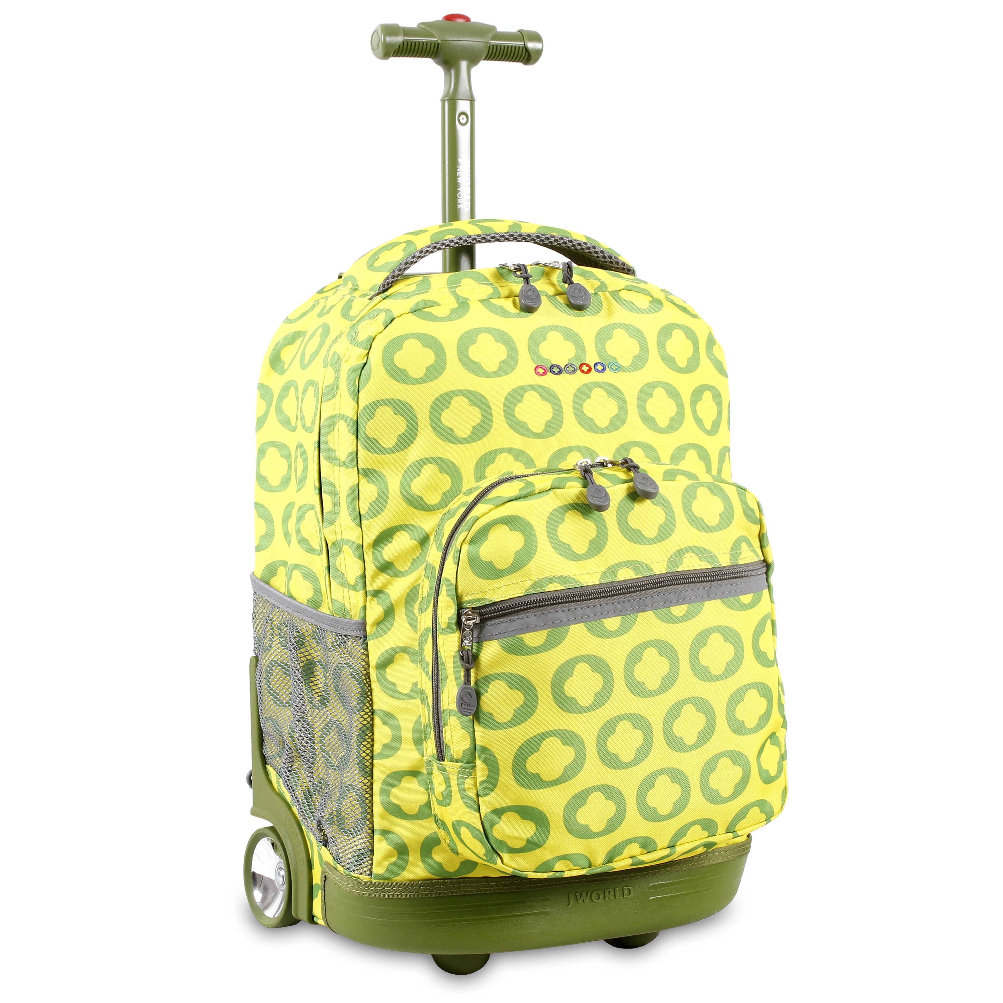 J World Lime Logo Sunrise 18-inch Rolling Backpack (Lime ...