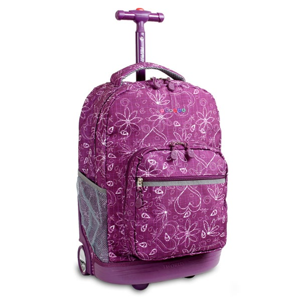 J World Love Purple Sunrise 18-inch Rolling Backpack