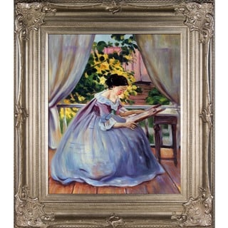 Victor Borisov-Musatov 'Lady Embroidering' Hand Painted Framed Canvas Art