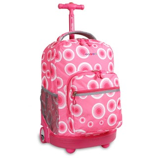 J World Pink Target Sunrise 18-inch Rolling Backpack