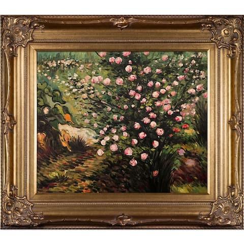 Vincent Van Gogh 'Rosebush in Blossom' Hand Painted Framed Canvas Art
