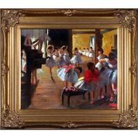 Edgar Degas 'The Dance Class' Hand Painted Framed Canvas Art