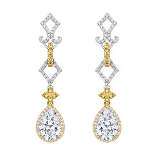 18k Two-tone Gold 3/5ct TDW Yellow Sapphire Semi Mount Diamond Earrings (G-H, SI)