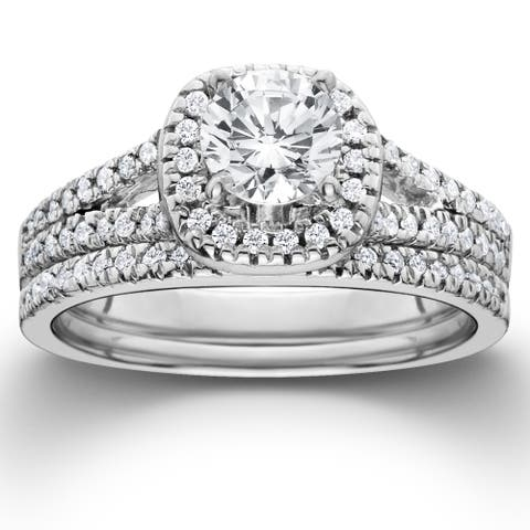 14k White Gold 1ct TDW Diamond Halo Engagement Wedding Ring Set