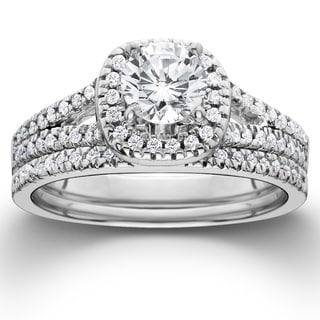 14k White Gold 1ct TDW Diamond Halo Engagement Wedding Ring Set (I-J, I2-I3)
