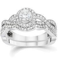 14k White Gold 1 1/4 ct TDW Diamond Double Halo Wedding Ring Set