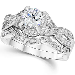 14k White Gold 1 1/2 ct TDW Diamond Engagement Wedding Ring Set