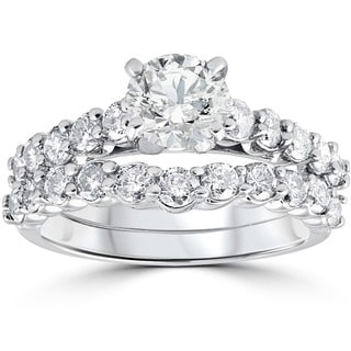 14k White Gold 2.00 ct TDW Diamond Engagement Wedding Ring Set (I-J, I2-I3)