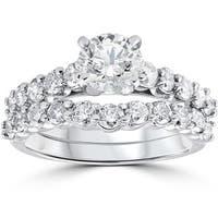 14k White Gold 2ct TDW Diamond Engagement Wedding Ring Set