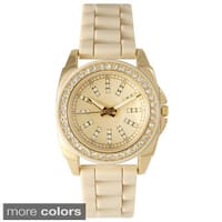Olivia Pratt Women's  Elegant Rhinestone Bezel Silicone Watch
