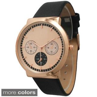 Olivia Pratt Women's 26219 Rosegold Decorative Chronograph Leather Strap Watch
