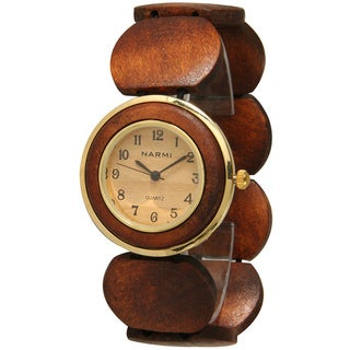 Olivia Pratt Women's 1463 Wooden Bracelet Watch