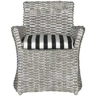 Safavieh Rural Woven Dining Cabana Grey White Wash/ Black / White Stripe Arm Chair