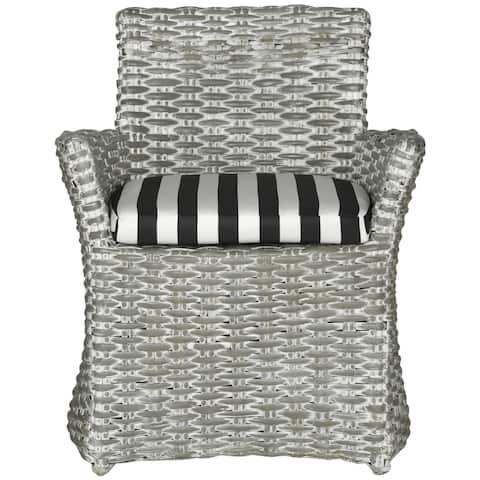 "Safavieh Rural Woven Dining Cabana Grey White Wash/ Black / White Stripe Arm Chair - 28"" x 24.4"" x 33.1"""